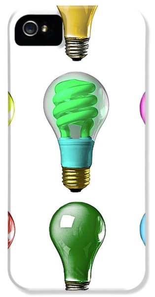 Electric Lamp (electric Light) iPhone 5 Cases - Light bulbs of a different color iPhone 5 Case by Bob Orsillo