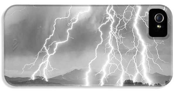 Lightning Striking Longs Peak Foothills 4cbw IPhone 5 Case by James BO  Insogna