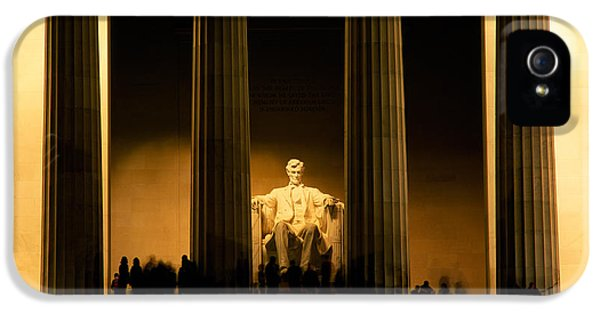 Lincoln Memorial Illuminated At Night IPhone 5 Case by Panoramic Images