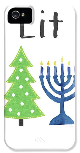 Lit Christmas And Hanukkah- Art By Linda Woods IPhone 5 Case