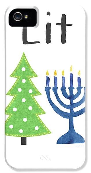Lit Christmas And Hanukkah- Art By Linda Woods IPhone 5 Case by Linda Woods