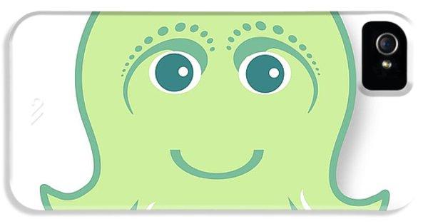 iPhone 5 Case - Little Cute Green Octopus by Ainnion