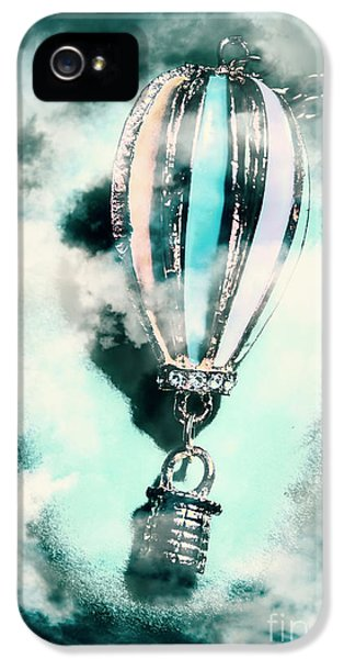 Pendant iPhone 5 Case - Little Hot Air Balloon Pendant And Clouds by Jorgo Photography - Wall Art Gallery