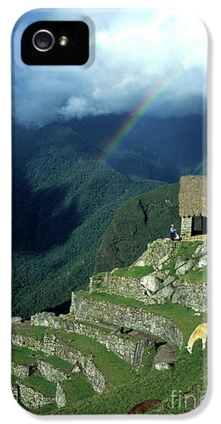 Llama iPhone 5 Case - Llama And Rainbow At Machu Picchu by James Brunker