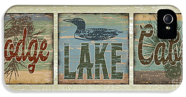 Lodge Lake Cabin Sign IPhone 5 Case by Joe Low