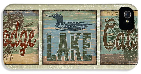 Lodge Lake Cabin Sign IPhone 5 Case