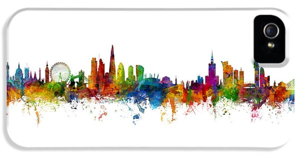 London Skyline iPhone 5 Case - London And Warsaw Skylines Mashup by Michael Tompsett