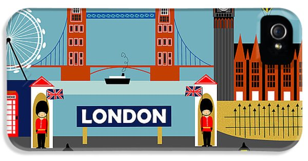 London England Horizontal Scene - Collage IPhone 5 Case by Karen Young