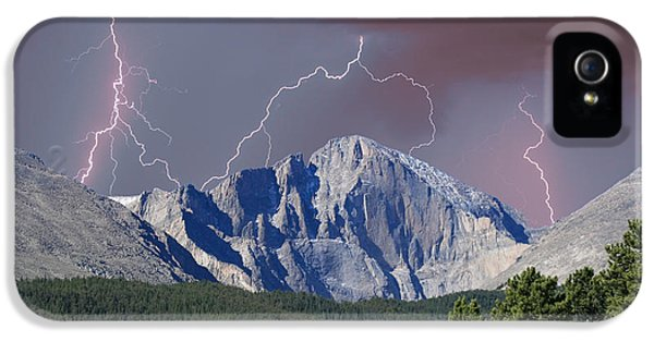 Longs Peak Lightning Storm Fine Art Photography Print IPhone 5 Case by James BO  Insogna