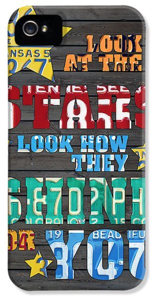 Look At The Stars Coldplay Yellow Inspired Typography Made Using Vintage Recycled License Plates IPhone 5 Case by Design Turnpike