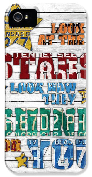 Look At The Stars Coldplay Yellow Inspired Typography Made Using Vintage Recycled License Plates V2 IPhone 5 Case by Design Turnpike