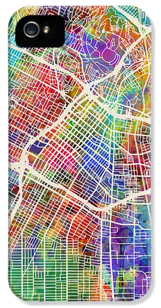 Los Angeles iPhone 5 Case - Los Angeles City Street Map by Michael Tompsett