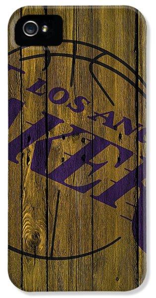 Los Angeles Lakers Wood Fence IPhone 5 Case by Joe Hamilton