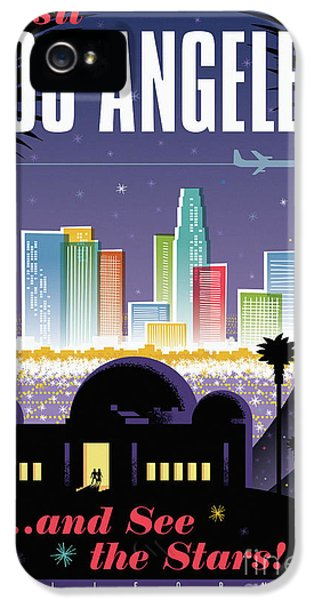 Los Angeles Retro Travel Poster IPhone 5 Case by Jim Zahniser