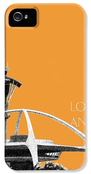 Los Angeles Skyline Lax Spider - Orange IPhone 5 Case by DB Artist