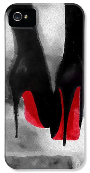 Louboutin At Midnight Black And White IPhone 5 Case by Rebecca Jenkins