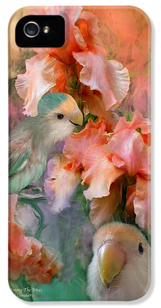 Lovebird iPhone 5 Case - Love Among The Irises by Carol Cavalaris