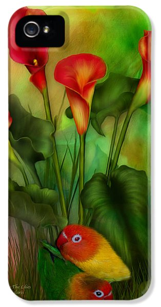 Lovebird iPhone 5 Case - Love Among The Lilies  by Carol Cavalaris
