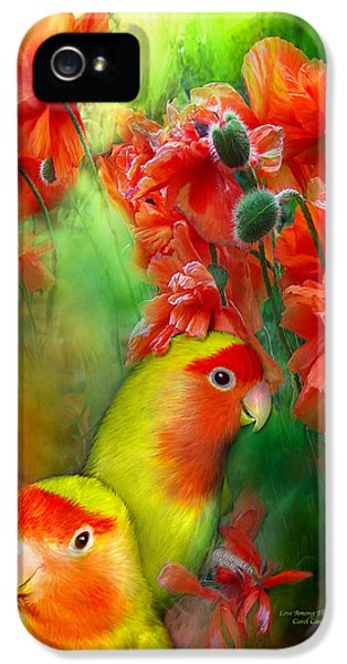 Lovebird iPhone 5 Case - Love Among The Poppies by Carol Cavalaris