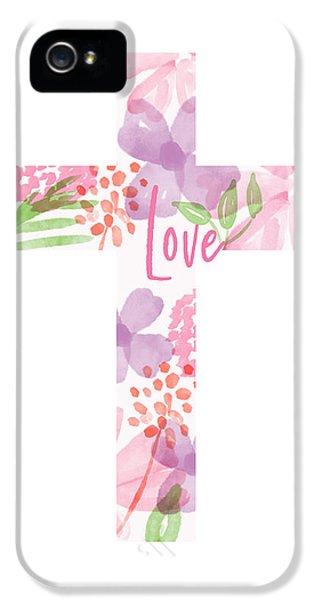 Cross iPhone 5 Case - Love Floral Cross- Art By Linda Woods by Linda Woods