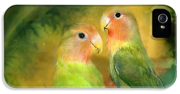 Lovebird iPhone 5 Case - Love In The Golden Mist by Carol Cavalaris