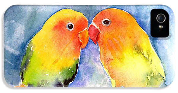 Lovebird iPhone 5 Case - Lovey Dovey Lovebirds by Arline Wagner