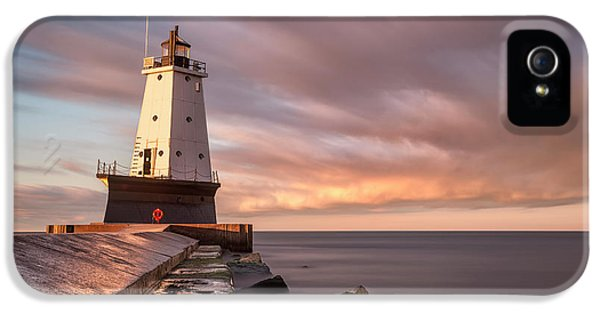 IPhone 5 Case featuring the photograph Ludington Light Sunrise Long Exposure by Adam Romanowicz