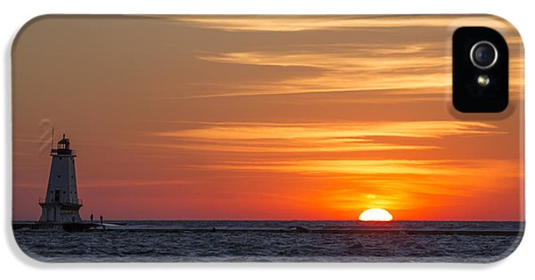 IPhone 5 Case featuring the photograph Ludington North Breakwater Light At Sunset by Adam Romanowicz