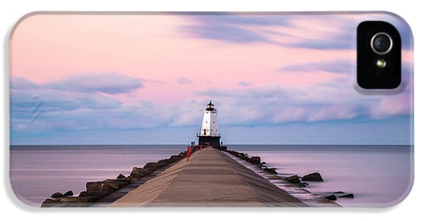 IPhone 5 Case featuring the photograph Ludington North Breakwater Light Sunrise by Adam Romanowicz
