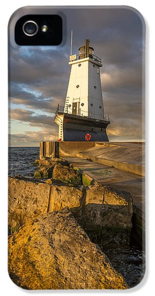 IPhone 5 Case featuring the photograph Ludington North Breakwater Lighthouse At Sunrise by Adam Romanowicz