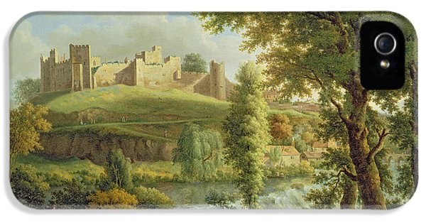 Castle iPhone 5 Case - Ludlow Castle With Dinham Weir by Samuel Scott