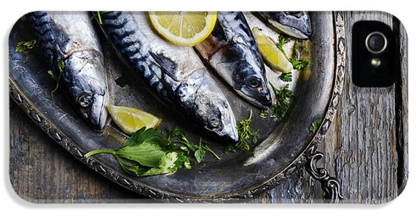 Lemon iPhone 5 Case - Mackerels On Silver Plate by Jelena Jovanovic