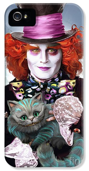Mad Hatter And Cheshire Cat IPhone 5 Case by Melanie D