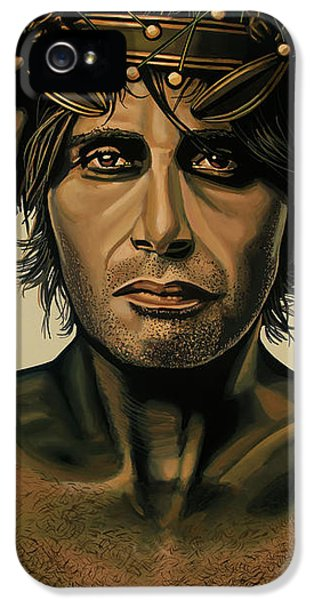 Mads Mikkelsen Painting IPhone 5 Case by Paul Meijering