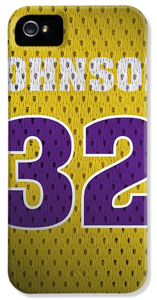 Magic Johnson iPhone 5 Case - Magic Johnson Los Angeles Lakers Number 32 Retro Vintage Jersey Closeup Graphic Design by Design Turnpike
