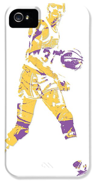 Magic Johnson iPhone 5 Case - Magic Johnson Los Angeles Lakers Pixel Art 5 by Joe Hamilton