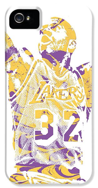 Magic Johnson iPhone 5 Case - Magic Johnson Los Angeles Lakers Pixel Art 7 by Joe Hamilton