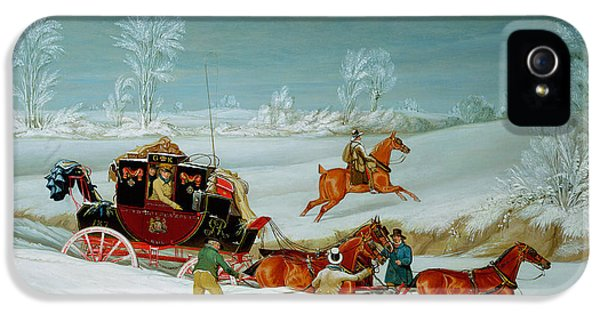 Mail Coach In The Snow IPhone 5 Case by John Pollard
