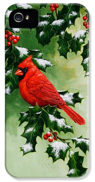 Male Cardinal And Holly Phone Case IPhone 5 Case by Crista Forest