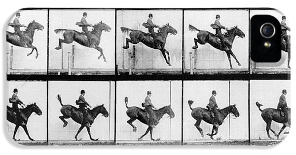 Horse iPhone 5 Case - Man And Horse Jumping by Eadweard Muybridge
