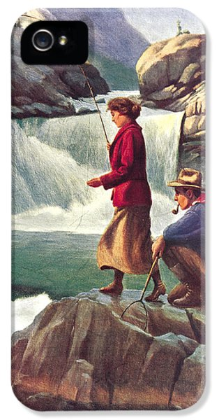 Camping iPhone 5 Cases - Man and Woman Fishing iPhone 5 Case by JQ Licensing