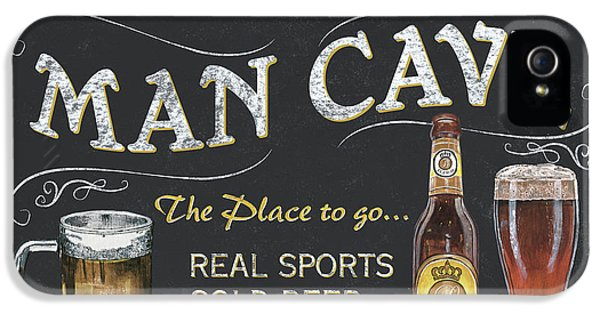 Man Cave Chalkboard Sign IPhone 5 Case by Debbie DeWitt