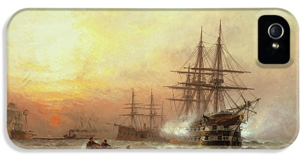 Man-o-war Firing A Salute At Sunset IPhone 5 Case by Claude T Stanfield Moore