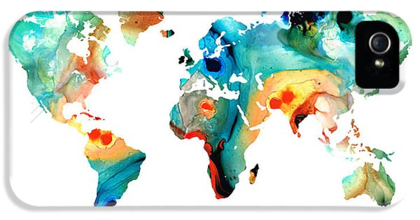Map Of The World 11 -colorful Abstract Art IPhone 5 Case by Sharon Cummings
