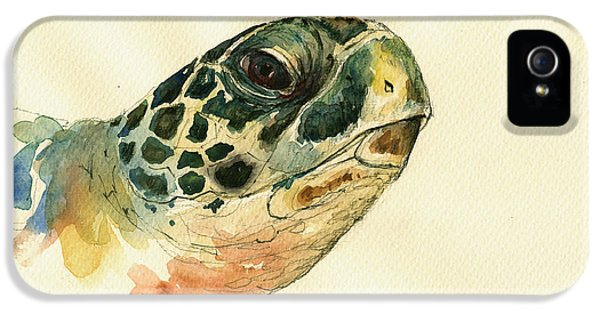 Turtle iPhone 5 Case - Marine Turtle by Juan  Bosco