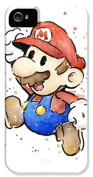 Mario Watercolor Fan Art IPhone 5 / 5s Case by Olga Shvartsur