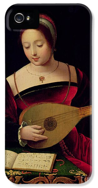 Mary Magdalene Playing The Lute IPhone 5 Case by Master of the Female Half Lengths