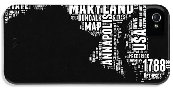 Maryland Black And White Map IPhone 5 Case by Naxart Studio