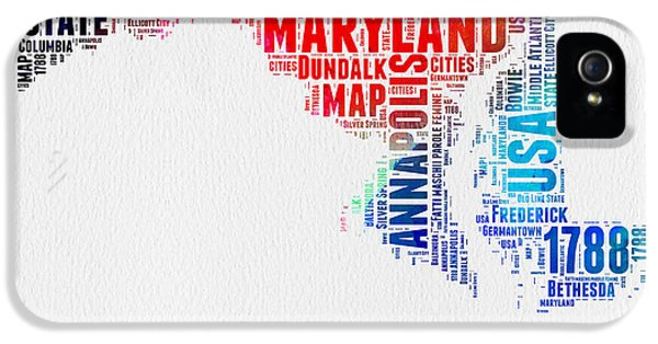 Maryland Watercolor Word Cloud  IPhone 5 Case by Naxart Studio