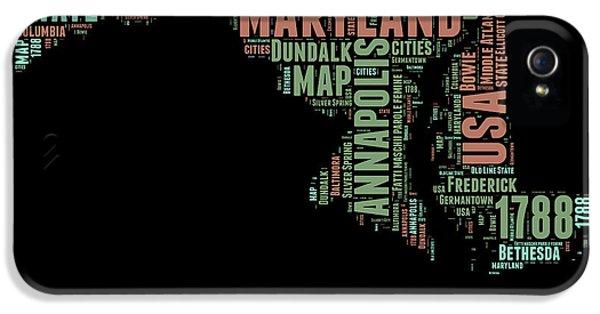 Maryland Word Cloud 1 IPhone 5 Case by Naxart Studio